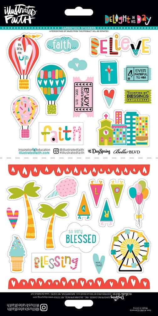 Illustrated Faith Stickers - Delight in His Day Cardstock Stickers