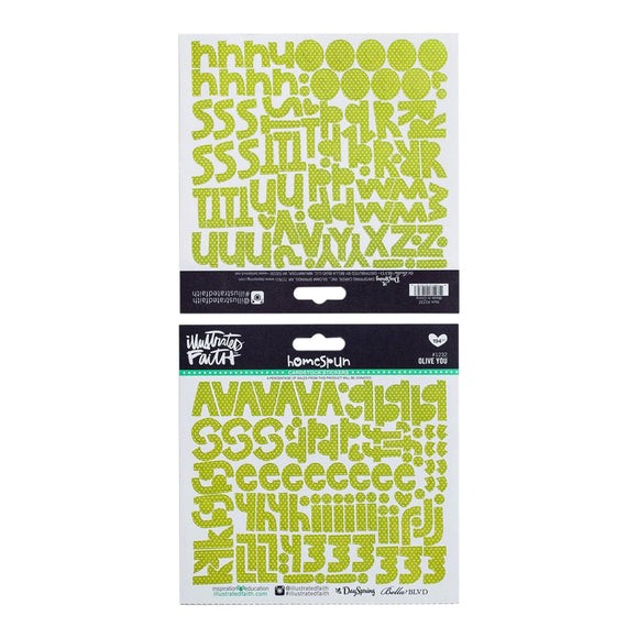 Illustrated Faith Stickers - Homespun Letters Olive You