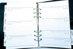 Starfish Living Undated Weekly Calendar Pages - Horizontal A5 6-ring