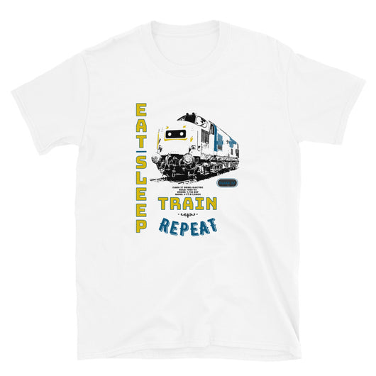 This is our funny Railway Eat Sleep Train Locomotive slogan T-Shirt, a tribute to the classic British Rail Diesel Electric Class 37 engine. Train T-Shirt. Railway T-Shirt, Railway Gift, Locomotive T-Shirt, Locomotive Gift. Great Railroad Shirt Gift for birthday, Christmas, fathers day gift for railroad fans, model train, train, diesel train, electric train, train drivers, Dads, Granddads, Grandpas, Uncles, and anyone with an interest in classic trains etc.