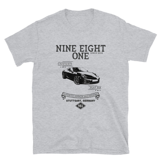 Porsche 981 Cayman T-Shirt This is our classic 981 vintage-style tribute shirt. The premium side shot of the classic 981 Cayman really makes this shirt pop. 981 Porsche Shirt, Porsche Caymen Shirt, Porsche caymen Gift, Porsche Caymen specs, Porsche caymen gift, caymen shirt, 981 gift, caymen apparel.