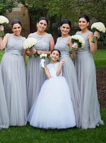 2017 Silver Tulle Elegant Long Cheap Wedding bridesmaid dresses