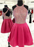 Short Pink Satin Halter Backless Short Homecoming Dress