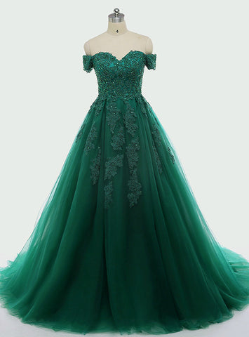 Dark Green Ball Gown Lace Appliques 15 Quinceanera Dresses