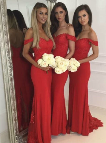 Cheap mermaid red sleeveless bridesmaid dresses long