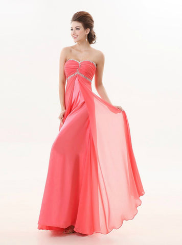 Graceful Watermelon Red Long A Line Strapless Beaded Bridesmaid Dress