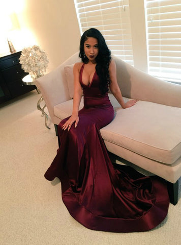 Burgundy Memraid V-neck Backless Satin Prom Dress