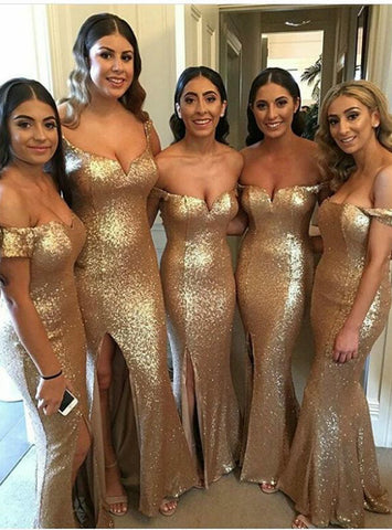 Brilliant Off the Shoulder Champagne Gold Sequin Bridesmaid Dresses