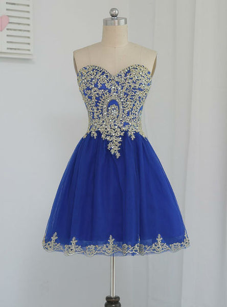Stunning 2017 Homecoming Dresses A-line Sweetheart Short Royal Blue