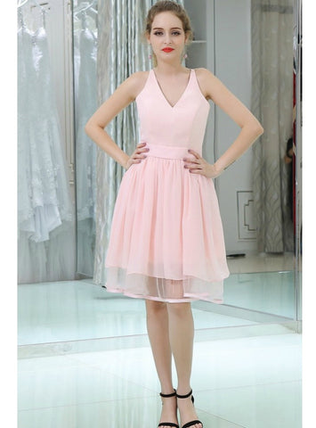A-Line V-neck Chiffon Pink With Lace Back Homecoming Dress
