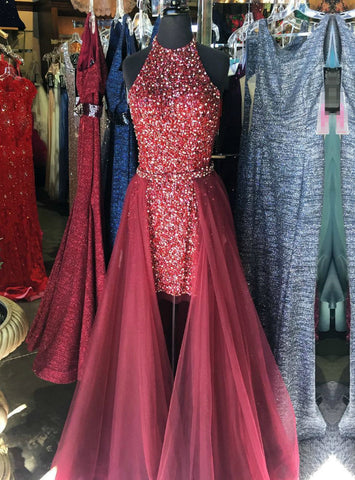 Burgundy Halter Two Piece Hi Lo Sequins Tulle Prom Dress