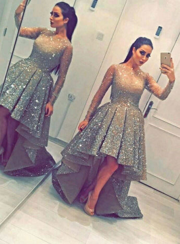 A-Line Gold High Low Long Sleeve Sequins Prom Dress