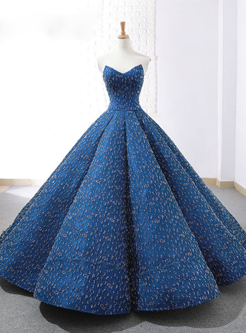 Blue Ball Gown Sweetheart Sequins Floor Length Weddign Dress With Beading