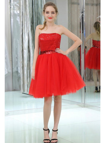 Red Strapless Cocktail Sequined Tulle Mini Homecoming Dress