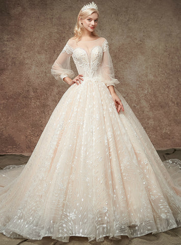 Adorable Champgne Tulle Sequins Puff Sleeve Backless WeddingDress
