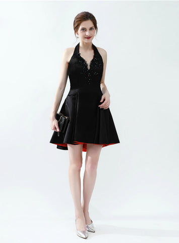 A-Line Black Satin Halter Backless Appliques Homecoming Dress