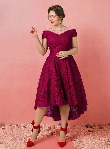 Plus Size A-Line Burgundy Hi Lo Lace Cap Sleeve Prom Dress