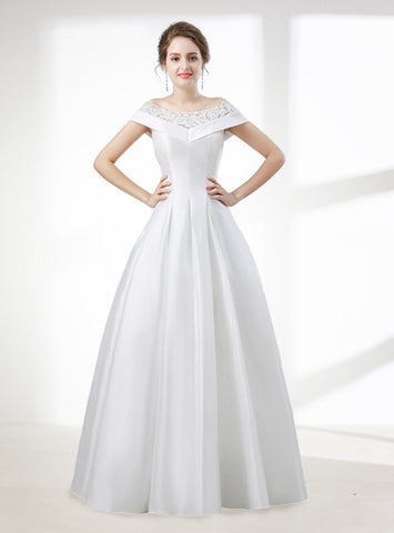 A-Line White Satin Lace Off The Shoulder Floor Length Wedding Dress