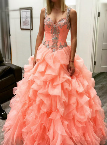 Romance 2017 coral prom dresses ball gowns quinceanera dresses