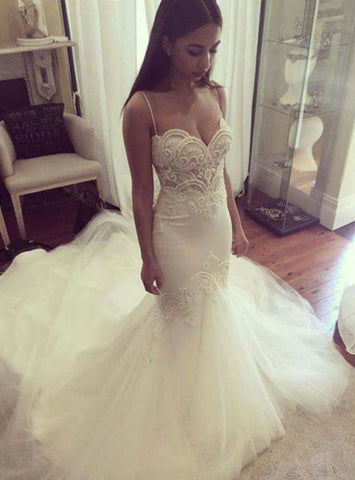 Adorable Mermaid Wedding dress Sexy Beaded Lace Mermaid Wedding Dresses