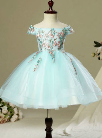 Sky Blue Beautiful Hall Wedding Party Dresses 2017 Flower Girl Dresses