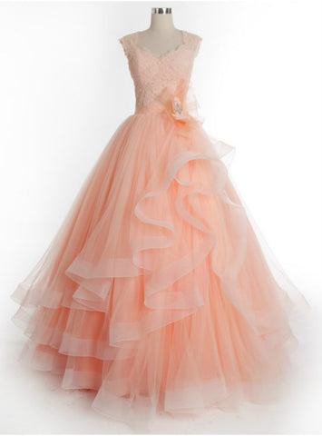 Hot Sale Long Charming Tulle Lace Prom Dress Ball Gown Prom Dress