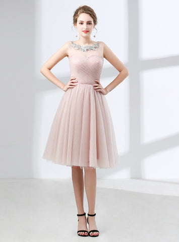 A-Line Pink Tulle Lace Pleats Sleeveless Knee Length Homecoming Dress