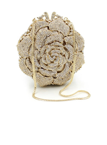 Fashion Deluxe Full of Rhinestone Rose Women's Clutches