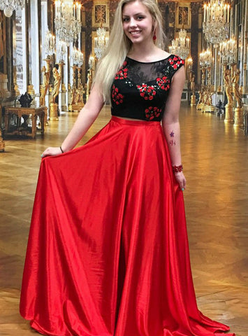 A-Line Red Satin Two Piece Scoop Backless Long Prom Dress With Lace Appliques