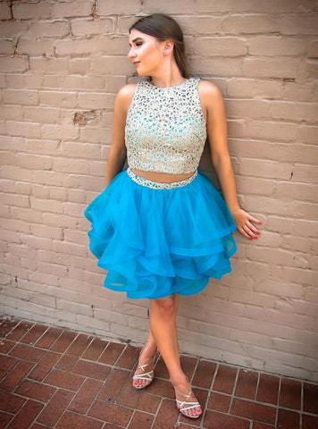 Two Piece Short Blue Tulle Gold Lace Homecoming Dress