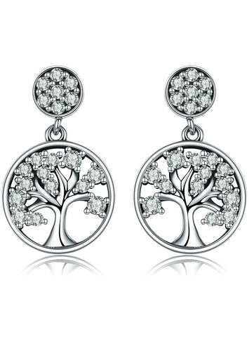 925 Sterling Silver Tree of Life AAA Zircon Drop Earrings