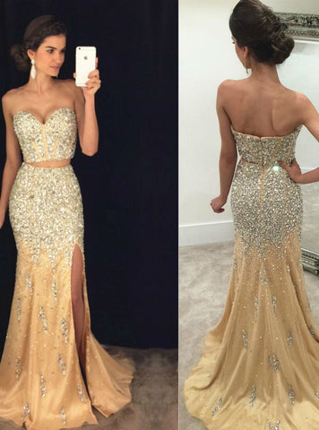 High quality Sweetheart Two-Piece Mermaid Evening Dress with Crystals and Side Slit