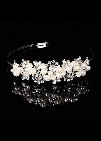 Cheap Romantic Alloy Wedding Tiara With Pearls