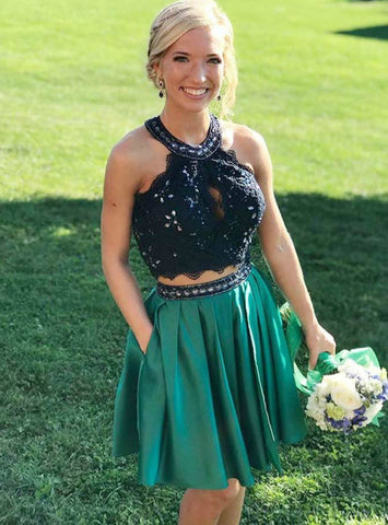 Green Satin Lace Halter Two Piece With Pockets Homecoming Dress
