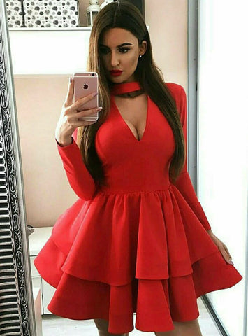 A-Line Red Satin V-neck Long Sleeve Homecoming Dress