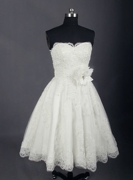 Simple Vintage Wedding Gown Short Wedding Dress Knee Length Lace Ivory