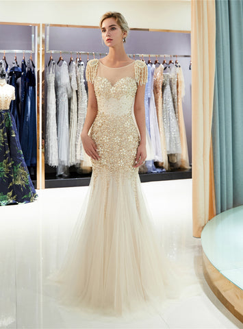 Meramid Tulle Cap Sleeve Backless With Beading Floor Length Prom Dress
