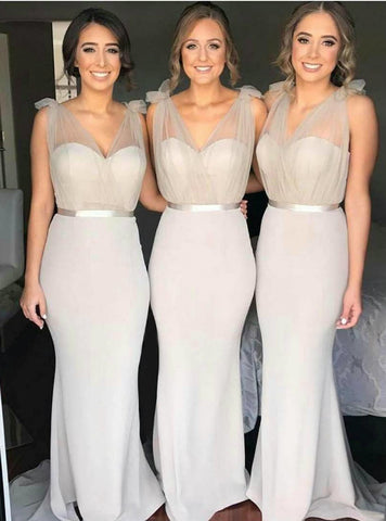 Mermaid Bridesmaids Dress Long Party Gown for Weddings