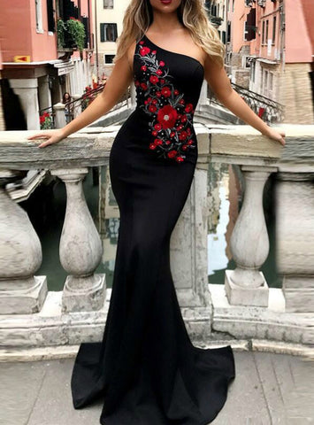 Unique Black Mermaid Satin One Shoulder Embroidery Flower Long Prom Dress