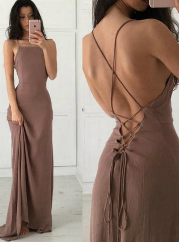 Champagne Spandex Spaghetti Straps Backless Prom Dress
