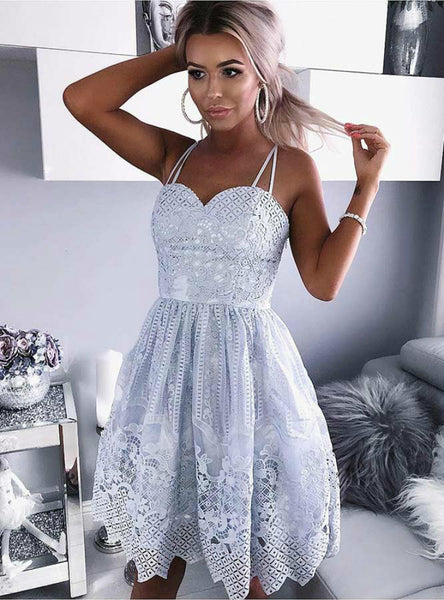 A-Line Blue Spaghetti Straps Lace Short Homecoming Dress