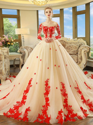 High quality Champagne Ball Gown Tulle Appliques Long Sleeve Wedding Dress