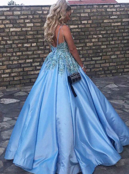 Fancy V Neck Prom Ball Gowns Formal Dresses Crystals Beaded Lace Bodice Puffy Satin