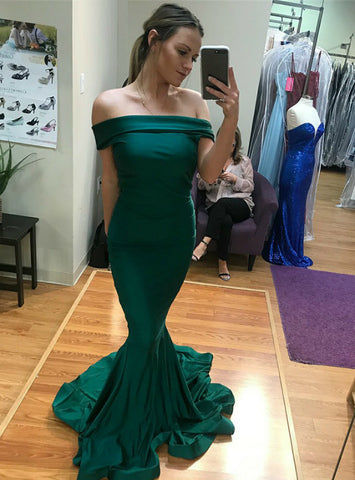Cheap Green Mermaid Satin Off The Shoulder Long Prom Dress