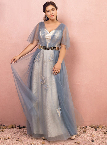Plus Size Blue Tulle V-neck Short Sleeve Backless With Sash Prom Dress