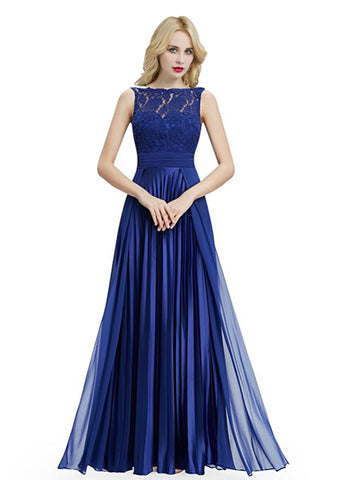 Blue Chiffon Backless Sleeveless Floor Length Bridesmaid Dress