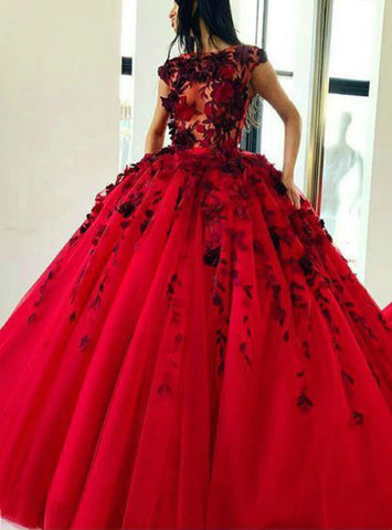 Ball Gown Red Tulle Cap Sleeve Appliques Floor Length Prom Dress