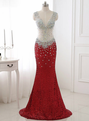 Sequined Mermaid Red Black Royal Champagne Crystal Long Prom Dress