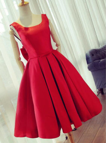 Knee Length Red Prom Dress A line Satin Graduation Dresses