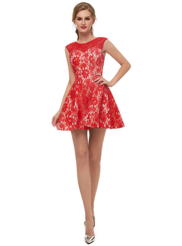 A Line Red Lace Sleeveless Mini Homecoming Dress